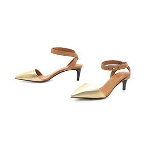 See by Chloe Gold Pointy Kitten Heel Pumps